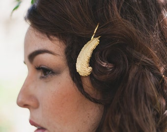 Golden Feather Pin - Bohemian Hair Accessories
