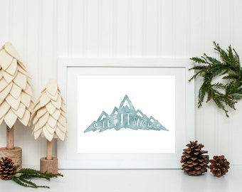 Christmas Printable, Festive Home Decor, Rustic Christmas Decor, Let it Snow, Christmas Wall Art, Holiday Home Decor, Instant Download