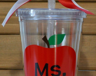Teacher Apple Personalized Tumbler Straw Cup- Favorite Teacher Cup- Best Teacher Cup- Teacher Apple Straw Cup