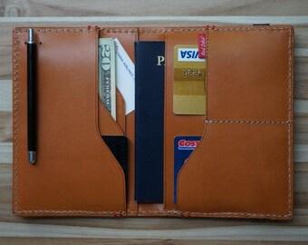 Secure Passport Holder; Smooth Italian Vachetta Leather; Elastic Band Travel Case; Pen Holder; Gift! Gift Season! Free Monogram Emboss!