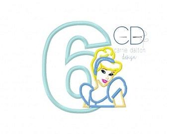 Cinderella Applique Design, Cinderella Embroidery Design, Princess Applique Design, Princess Birthday Embroidery Design