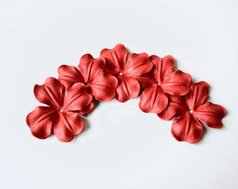 leather poppy flower set of 5 pcs