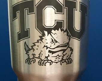 Texas Christian University Inspired, TCU Horned Frogs Cup, Laser Etched