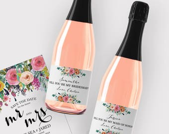 Will You Be My Bridesmaid Mini Champagne (187mL) Label, CUSTOM Floral Bridesmaid Proposal, Ask Bridesmaid, Favors, Bridesmaid's Gift Box