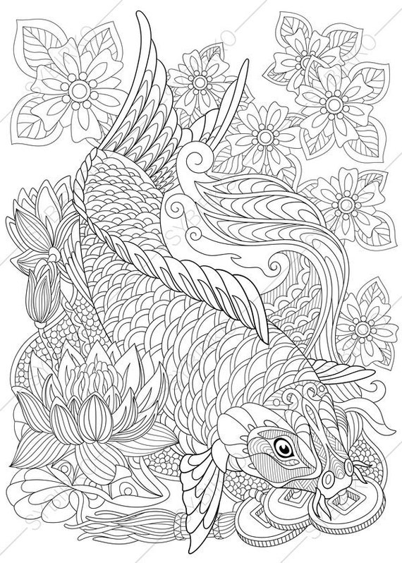 Carp Koi Fish Adult Coloring Page. Zentangle Doodle Coloring