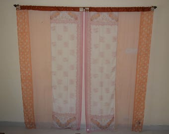 Indian partition curtain scarves curtain gypsy curtain hippy curtain boho curtain white curtain recycled fabric orange white floral scarf