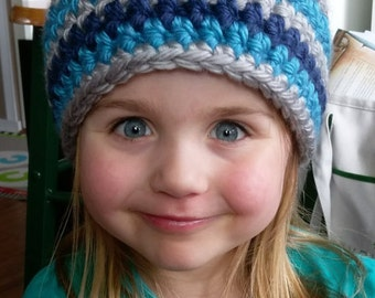 Winter Hat in Silver, Navy  Blue & Bright Blue