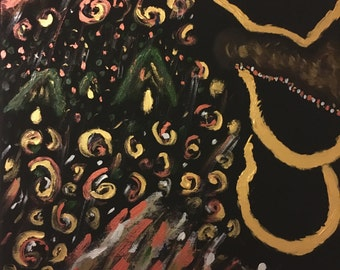 """Acrylic/oil Painting on black canvas """"Royal Order"""""""