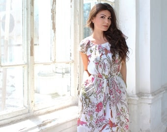 Chiffon Dress, Floral Dress, White chiffon dress, Summer dress, Bohemian Dress, Plus Size Dress, Midi Dress, Maxi Dress, Long Dress