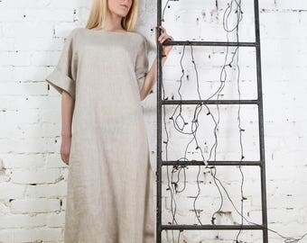 Linen dress, linen overalls, beach, vegan dress, linen womens clothes, organic linen dress/LD0004