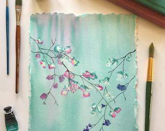 Original watercolor Spring buds