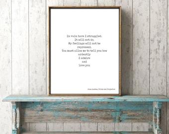 Pride and Prejudice Print, Love Quote, Jane Austen Quote Art, In vain I have struggled Book Quote Print, Jane Austen Wall Art