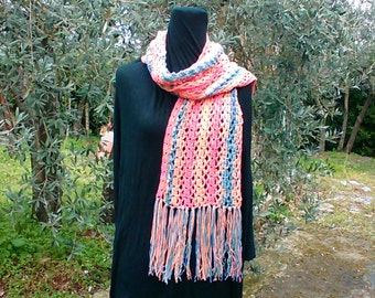 Multi-colored wool scarf
