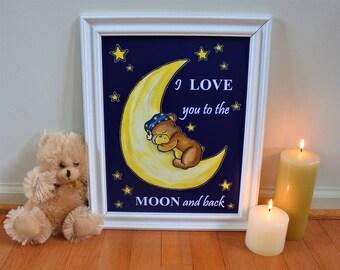 Sleepy Bear and Moon Nursery Decor/ Nursery Wall Art