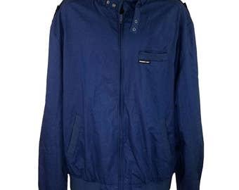 Members Only Jacket Vintage 80s Cafe Racer Bomber Dark Blue Tall Mens Size 2XLT