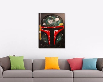 Boba Fett Helmet Star Wars Abstract Acrylic Painting