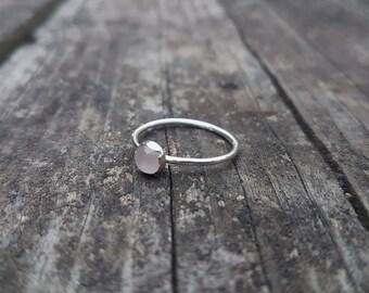Natural Rose Quartz & Eco Sterling Silver Ring