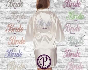 White Satin Bride Thigh Length Robe, 13 Rhinestone Colors, Bridal Party Robe, Rhinestone Bride Robe, Wedding Day Robe