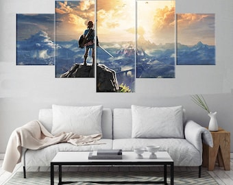 Breath of the Wild - 5 Piece Canvas | The Legend of Zelda Wall Art | Painting | Poster | Print | Mural | Decal | Artwork | Home Decor