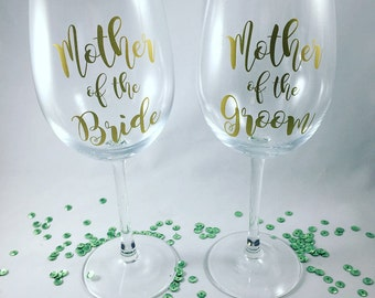 Mother of the Bride Wine Glass/Mother of the Groom Wine Glass/Mother of the Bride Gift/Mother of the From Gift/Wedding Wine Glasses