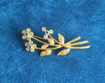 Vintage 1950s Movitex Forget Me Not Rhinestone Blue Brooch Something Blue