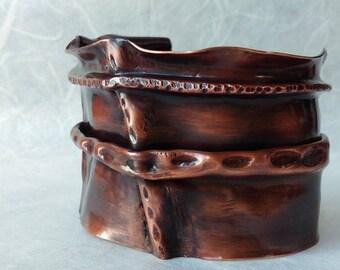 Fold formed copper cuff bracelet, wide copper cuff bracelet, foldformed copper cuff, forged cuff bracelet