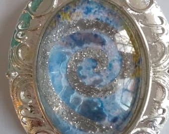 Blue Magic pandant with Victorian style frame