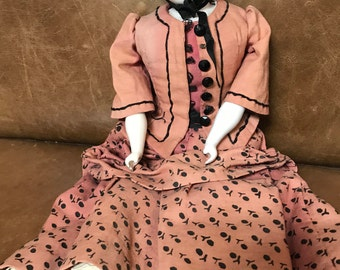 Antique Porcelain Doll with Cloth Body