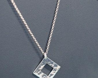Handmade Sterling Silver Square Pendant - Minimalist