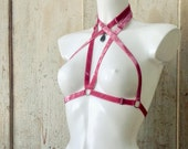 ASTERIA II — bondage-style harness — antique pink velvet elastics w/ gunmetal hardware & hematite pendant — fully adjustable — onesize