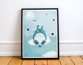 Totoro - large poster art print - A3 size