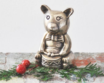 SALE! Vintage Brass Teddy Bear Figurine - little drummer bear with toy drum - Christmas, holiday decoration or nursery decor