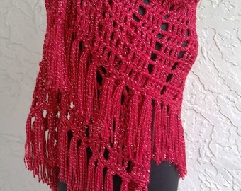 hand crochet Shawl Capelet shoulder wrap womens accessories cotton chic lacy red metallic evening ~ stylish wrap ~red silver thread