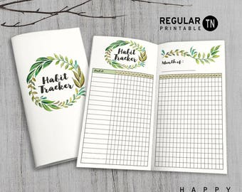 Printable MTN Insert - Regular Habit Tracker Insert - Midori Habit Tracker insert, Traveler's Notebook Insert - Green Leaves
