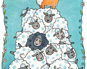 "King of the Hill Corgi Sheep Art Print 8""x10"""