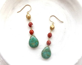 Turquoise Dangle Earrings / Turquoise Jewelry / Beaded Earrings / Handmade Jewelry / Gifts for Her / Boho Earrings / Made in Montana