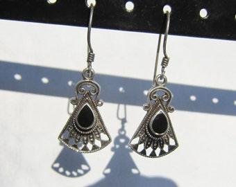 Sterling Silver Filigree Dangle Earrings with Bezel Set Black Onyx      0665
