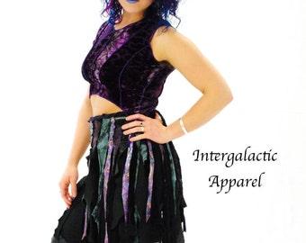 Hippie Skirt - Festival Skirt - Womens skirt - tutu - Pixie Skirt - Boho Skirt - Wrap skirt - Black Skirt - Mini Skirt - Short Skirt