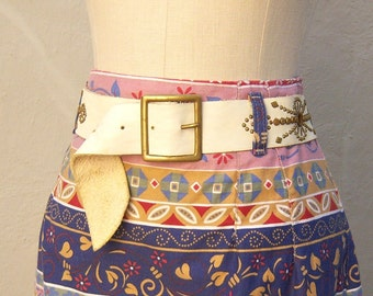 Bohemian distresed leather belt / Ivory leather, brass studded hippie belt / solid brass buckle 32-36 inches, medium