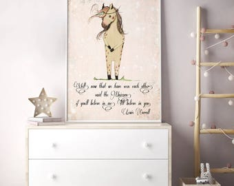 Unicorn quote, If you'll believe in me, I'll believe in you, Inspirational nursery Quote, Nursery decor, Nursery art print, kids room decor