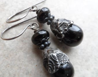 RESERVED Ebony Drops ... Artisan Lampwork, Glass Headpins with Decorative Tinwork and Sterling Silver Wire-Wrapped Boho, Classic Earrings