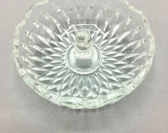 Vintage Glass Ring Dish, Round Ring Holder, Pressed Glass Pattern