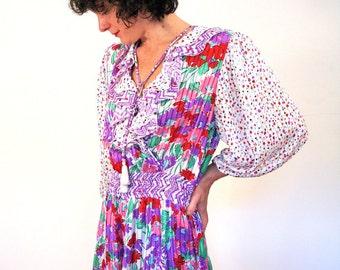 80s Diane Freis Dress, Floral Polka Dot Midi Dress, Ruffled Patchwork Print Dress, Artsy Designer Dress, White Floral Boho Dress M