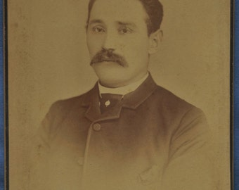 Cabinet Photo Man Mustache Adt Waterbury Connecticut CT 1890s Backstamp