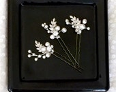 Leaf pearl Wedding Hair Pins, freshwater Pearl Hair Pins, Pearl Bobby Pins, white opal U-Pin Bridal Hair Accessory, FLORA