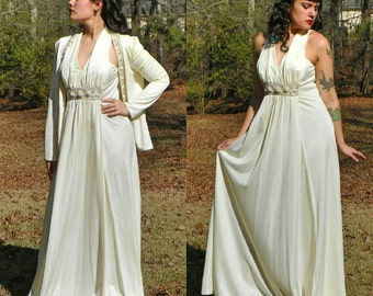 1970s Vintage Jack Bryan Cream Pearl Beaded Maxi Goddess Dress with Matching Jacket Iridescent Sequin Beaded Dress Empire Waist Size Medium