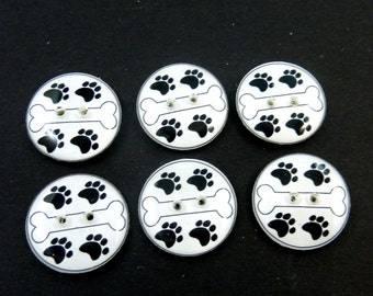 6 Dog Bone Buttons. Handmade Buttons.   Dog Bone and Paw Print  Buttons for Sewing.