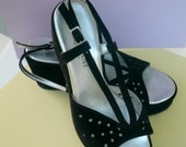 Women's Shoes Platform Black Suede Sandals Size Six Italy  Straps Wedges Eyelet Pattern  Retro