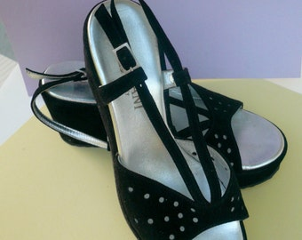 Shoes Platform Black Suede Sandals Size Six Italy  Straps Wedges Eyelet Pattern