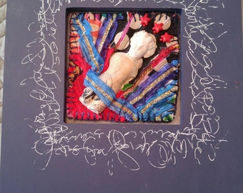 "Framed Mixed Media Fiber Art ""Liberty Charlotte"""